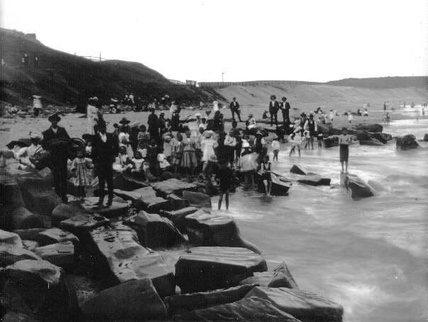 This photograph dates from 1906 when Merewether was undeveloped.Note the fence in the background built to stop sand drift.